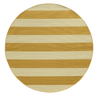 Alford Hand-Woven Yellow Indoor/Outdoor Area Rug Rug Size: Round 710