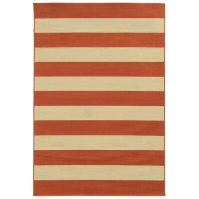 Alford Orange/Ivory Indoor/Outdoor Area Rug Rug Size: 67 x 96