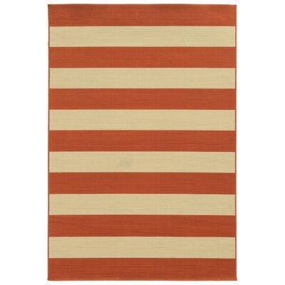 Alford Orange/Ivory Indoor/Outdoor Area Rug Rug Size: 37 x 56