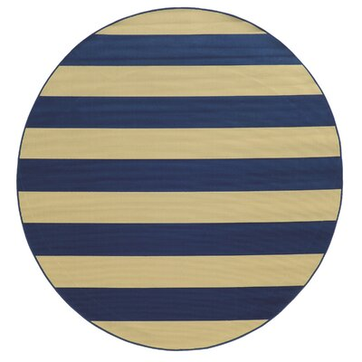 Alford Hand-Woven Dark Blue/Ivory Indoor/Outdoor Area Rug Rug Size: Round 710