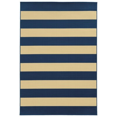 Alford Hand-Woven Dark Blue/Ivory Indoor/Outdoor Area Rug Rug Size: Rectangle 53 x 76
