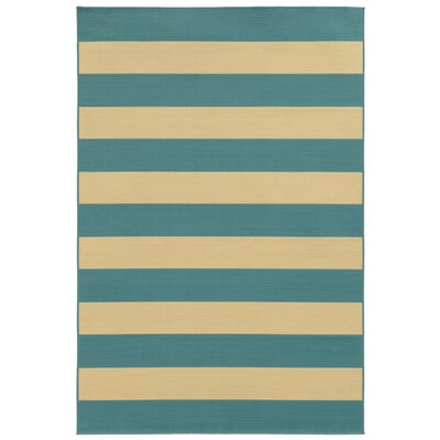 Alford Blue/Ivory Indoor/Outdoor Area Rug Rug Size: 53 x 76