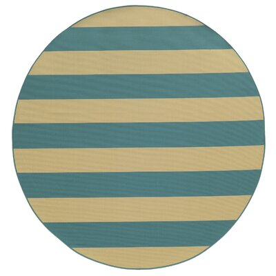 Alford Blue/Ivory Indoor/Outdoor Area Rug Rug Size: Round 710