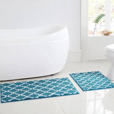 Shaw 2 Piece Bath Rug Set Color: Blue