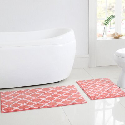 Shaw 2 Piece Bath Rug Set Color: Coral