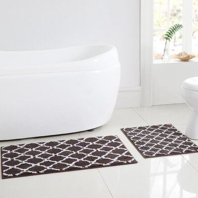 Shaw 2 Piece Bath Rug Set Color: Black