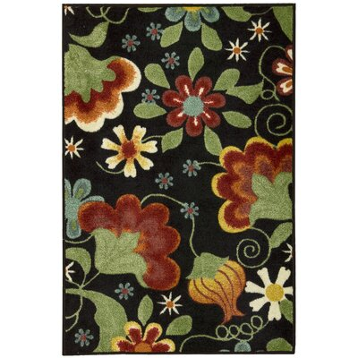 Greenmeadow Black/Green/Red Area Rug Rug Size: 710 x 910