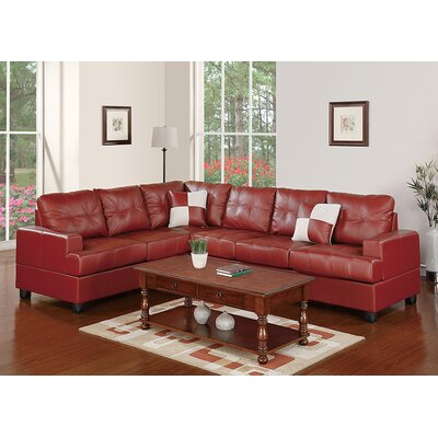 Dalton Reversible Chaise Sectional Upholstery: Burgundy