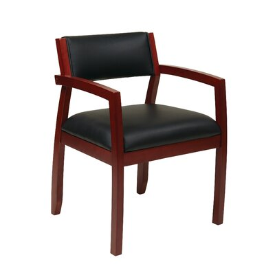 Roxanne Upholstered Back Leather Guest Chair Finish: Cherry