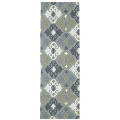 Cavour Traditional Handmade Pewter Green Indoor / Outdoor Area Rug Rug Size: Runner 26 x 8