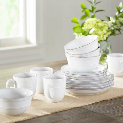 Annabelle 16 Piece Dinnerware Set Color: White