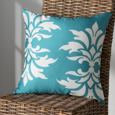 Eudora Double Damask Outdoor Throw Pillow Color: Turquoise
