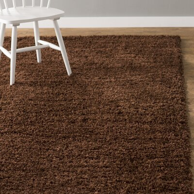Lilah Solid Shag Brown Area Rug