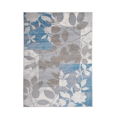 Albion Beige/Blue Area Rug Rug Size: 33 x 52