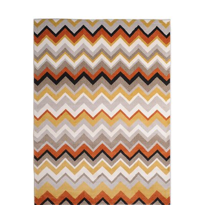 Zella Orange Area Rug Rug Size: 52 x 72