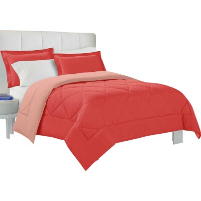 Bruno Comforter Set Size: King, Color: Lantana / Coral Pink