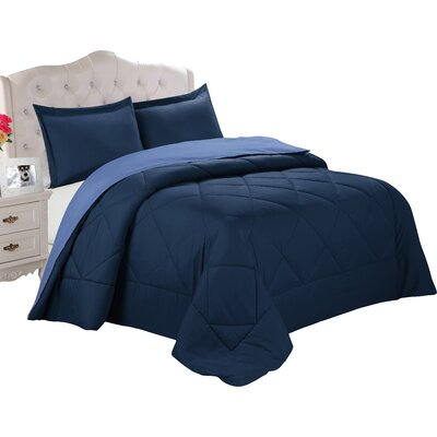 Bruno Comforter Set Color: Navy / Regatta Blue, Size: Full / Queen
