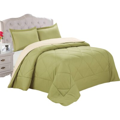 Bruno Comforter Set Size: King, Color: Sage / Cream