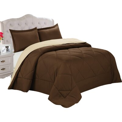 Bruno Comforter Set Color: Chocolate / Cream, Size: Twin