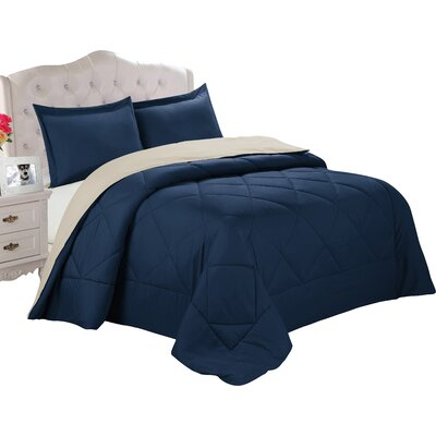 Bruno Comforter Set Size: King, Color: Patriot Blue / Stone