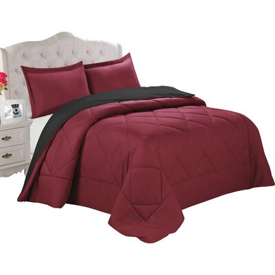 Bruno Comforter Set Size: King, Color: Burgundy / Black
