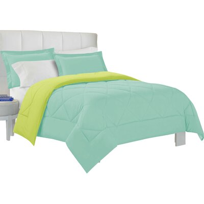 Bruno Comforter Set Size: King, Color: Aqua / Lime