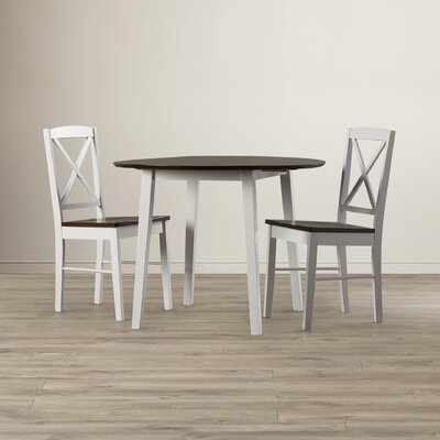 Wiley 3 Piece Drop Leaf Dining Set Finish: Cherry / White