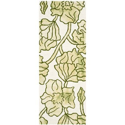Coleman Hand-Tufted Ivory/Light Green Area Rug Rug Size: Runner 23 x 8