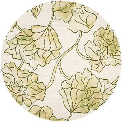 Millie Hand-Tufted Ivory/Light Green Area Rug Rug Size: Round 7
