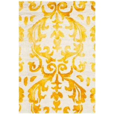 Coleman Hand-Tufted Ivory/Gold Area Rug Rug Size: 3 x 5