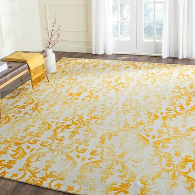 Coleman Hand-Tufted Ivory/Gold Area Rug Rug Size: Rectangle 4 x 6