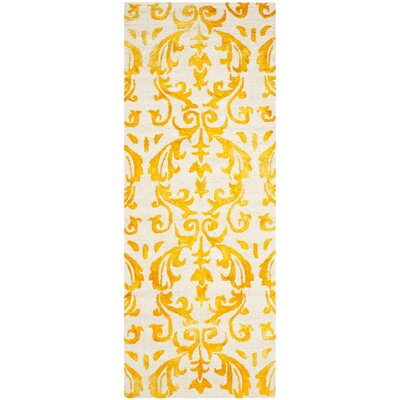 Coleman Hand-Tufted Ivory/Gold Area Rug Rug Size: Runner 23 x 6
