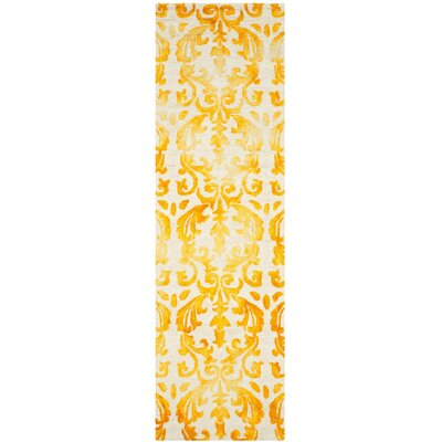 Coleman Hand-Tufted Ivory/Gold Area Rug Rug Size: Runner 23 x 8