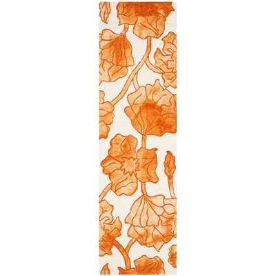 Coleman Hand-Tufted Ivory/Orange Area Rug Rug Size: Runner 23 x 8