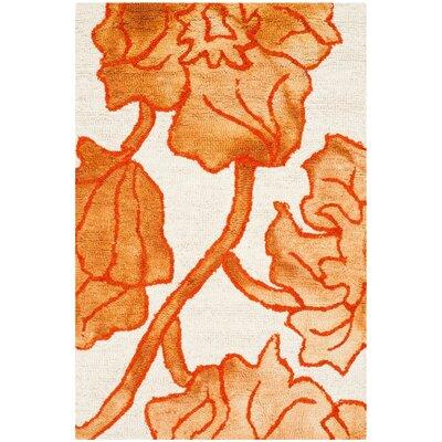 Coleman Hand-Tufted Ivory/Orange Area Rug Rug Size: 3 x 5