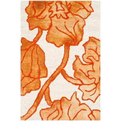 Millie Hand-Tufted Ivory/Orange Area Rug Rug Size: 4 x 6