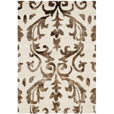 Coleman Hand-Tufted Ivory/Chocolate Area Rug Rug Size: Rectangle 2 x 3
