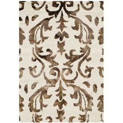 Millie Hand-Tufted Ivory/Chocolate Area Rug Rug Size: Runner 23 x 6