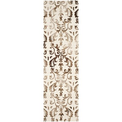 Coleman Hand-Tufted Ivory/Chocolate Area Rug Rug Size: Runner 23 x 8