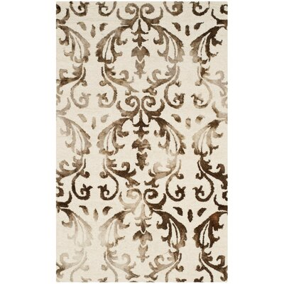 Coleman Hand-Tufted Ivory/Chocolate Area Rug Rug Size: Rectangle 3 x 5