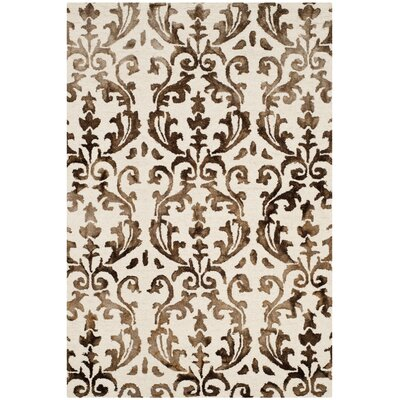 Coleman Hand-Tufted Ivory/Chocolate Area Rug Rug Size: Rectangle 4 x 6