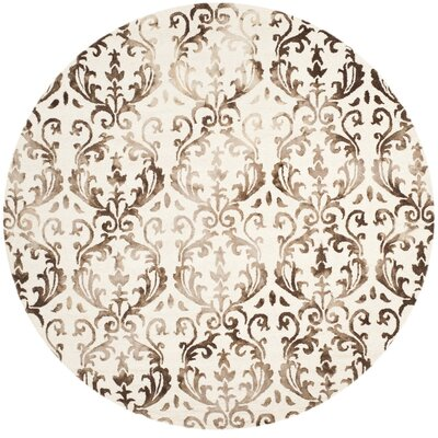 Coleman Hand-Tufted Ivory/Chocolate Area Rug Rug Size: Round 7