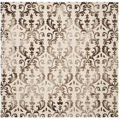 Millie Hand-Tufted Ivory/Chocolate Area Rug Rug Size: Square 7
