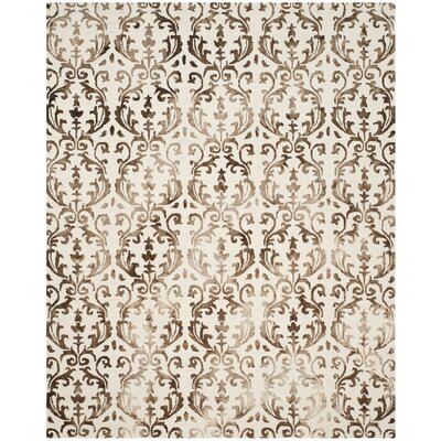 Coleman Hand-Tufted Ivory/Chocolate Area Rug Rug Size: Rectangle 8 x 10