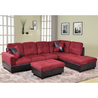 Russ Sectional Upholstery: Burgundy, Orientation: Right Hand Facing