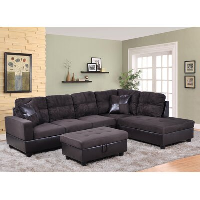 Russ Sectional Upholstery: Dark Chocolate, Orientation: Right Hand Facing
