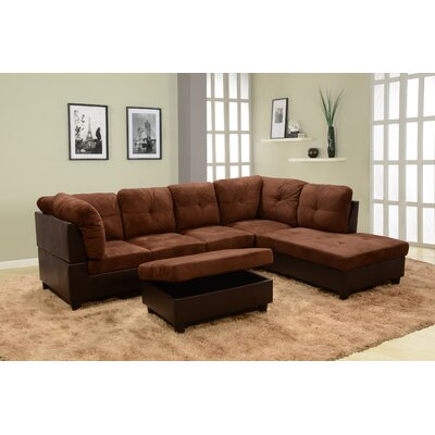 Mendoza Sectional with Ottoman Upholstery: Brown