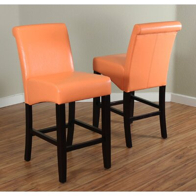 26 inch Bar Stool Upholstery: Sunrise Orange