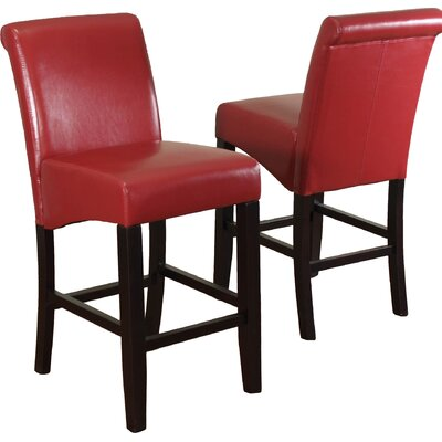 Bailey 26 Bar Stool Upholstery: Red