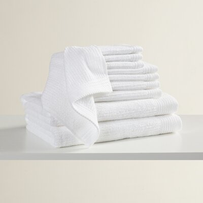 Pernelia 10 Piece Egyptian Quality Cotton Towel Set Color: White